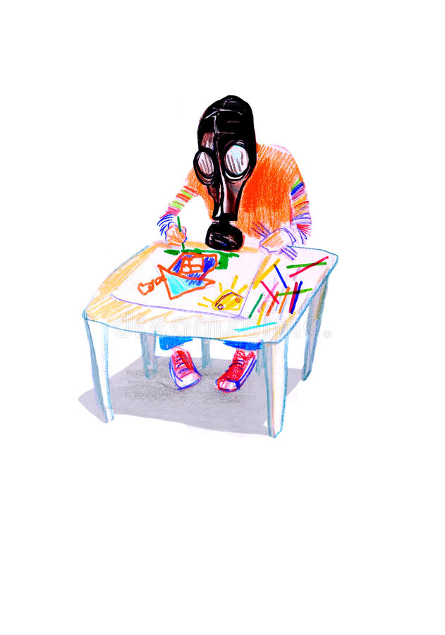 Επισύροντας την προσοχή σε χαρτί του παιδιού στη μάσκα αερίου, που σύρει μια εικόνα στοκ φωτογραφία με δικαίωμα ελεύθερης χρήσης