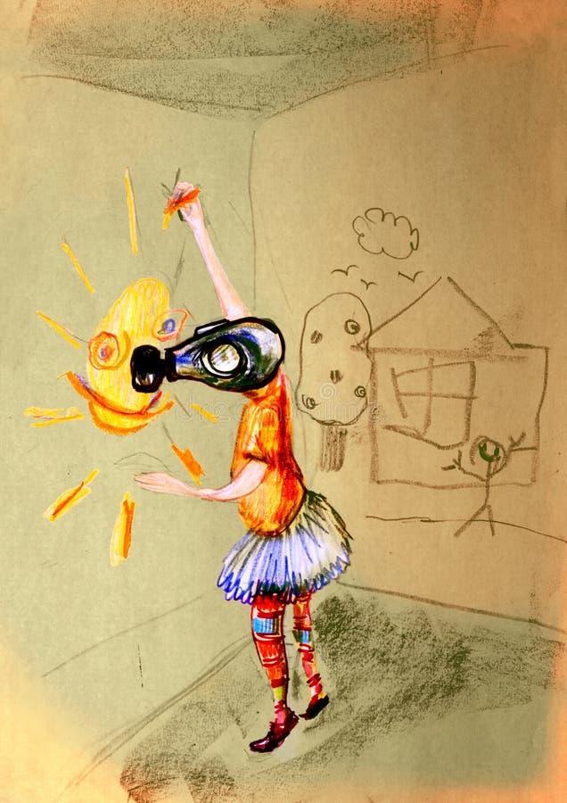 Επισύροντας την προσοχή σε χαρτί του παιδιού στη μάσκα αερίου, που σύρει έναν ήλιο στοκ φωτογραφία με δικαίωμα ελεύθερης χρήσης