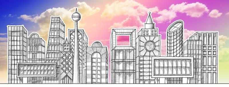 Επισύροντας την προσοχή τον ορίζοντα μιας σύγχρονης πόλης υποθετικής - μολύβι στο άσπρο υπόβαθρο στοκ φωτογραφία