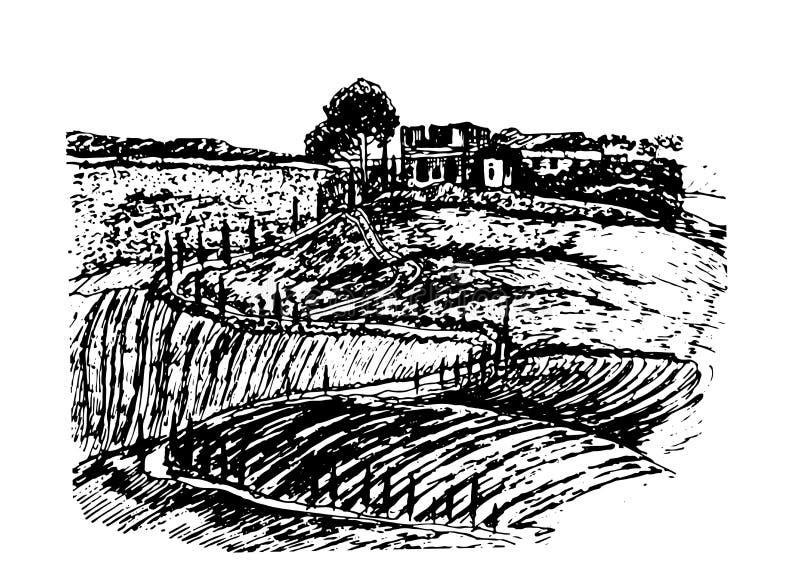 Επισύροντας την προσοχή το όμορφο τοπίο των τομέων της Τοσκάνης με τις καταστροφές του κάστρου στο σκίτσο λόφων δώστε τη συρμένη  διανυσματική απεικόνιση