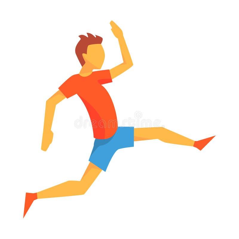 Επιτάχυνση ατόμων για το τριπλό άλμα, αρσενικός αθλητικός τύπος που τρέχει τη διαδρομή στην κόκκινη κορυφή και μπλε απότομα στον  απεικόνιση αποθεμάτων