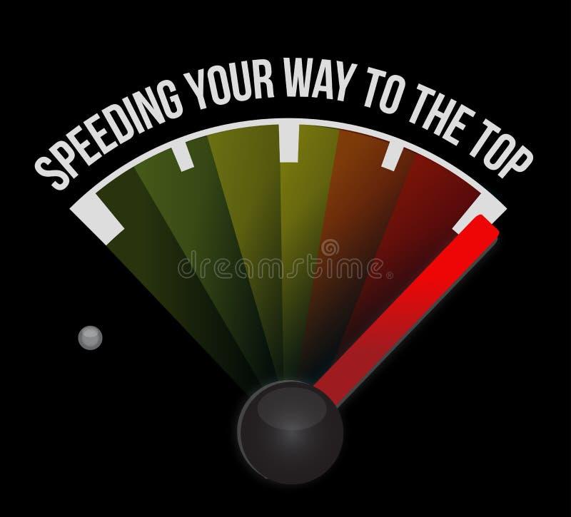 Επιτάχυνση του τρόπου σας στο τοπ ταχύμετρο έννοιας διανυσματική απεικόνιση