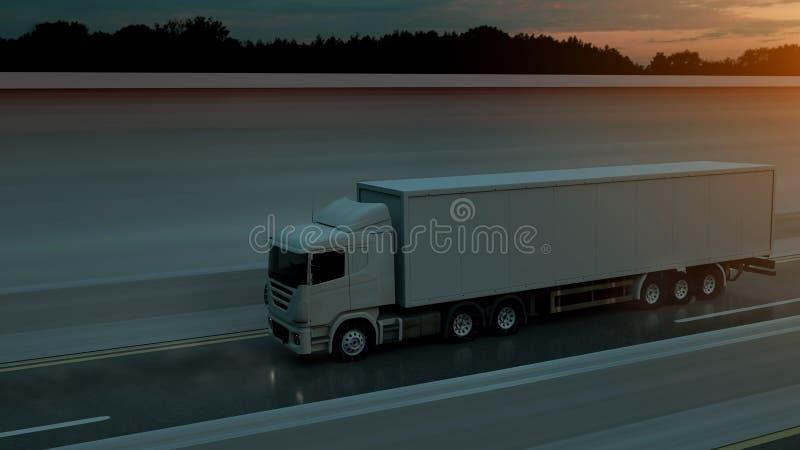 Επιτάχυνση φορτηγών στην εθνική οδό, πλάγια όψη Μεταφορά, έννοια ναυπηγικής βηομηχανίας r διανυσματική απεικόνιση