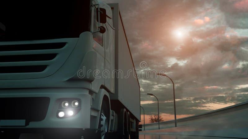 Επιτάχυνση φορτηγών στην εθνική οδό, πυροβολισμός χαμηλός-γωνίας Μεταφορά, έννοια ναυπηγικής βηομηχανίας r διανυσματική απεικόνιση