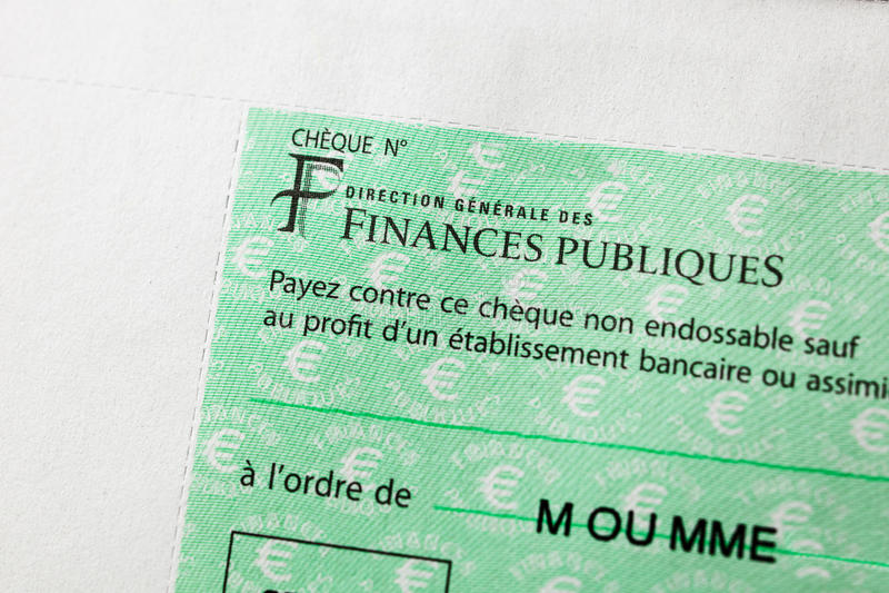 Επιταγή Rench που εκδίδεται από την κατεύθυνση Generale des Finances Publi στοκ φωτογραφία με δικαίωμα ελεύθερης χρήσης