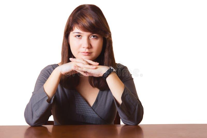 επιτραπέζια γυναίκα επιχειρησιακής συνεδρίασης στοκ εικόνα