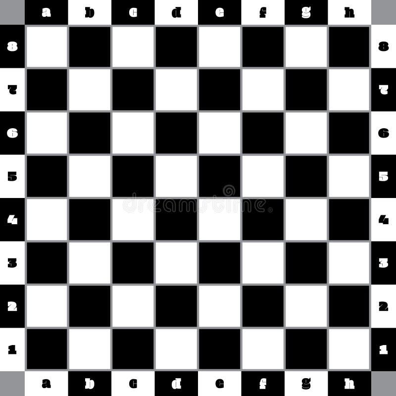 Επιτραπέζιος κλασικός σκακιού με τα γκρίζα οριοθετημένα τετράγωνα και με το numberin διανυσματική απεικόνιση