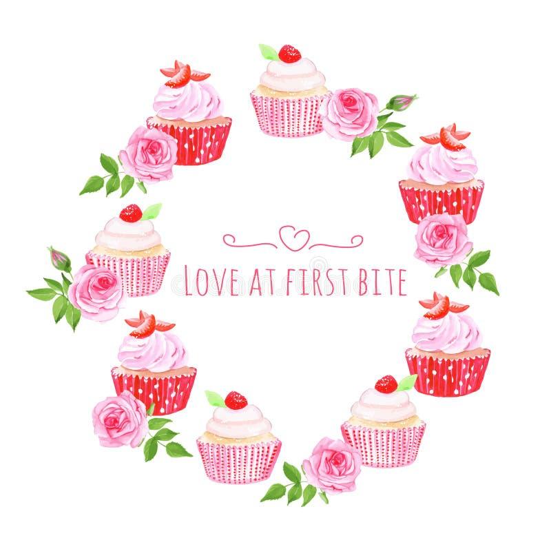 Επιτραπέζιο διανυσματικό σχέδιο Cupcakes γύρω από το πλαίσιο απεικόνιση αποθεμάτων