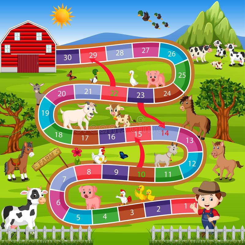 Επιτραπέζιο παιχνίδι με το αγροτικό υπόβαθρο απεικόνιση αποθεμάτων