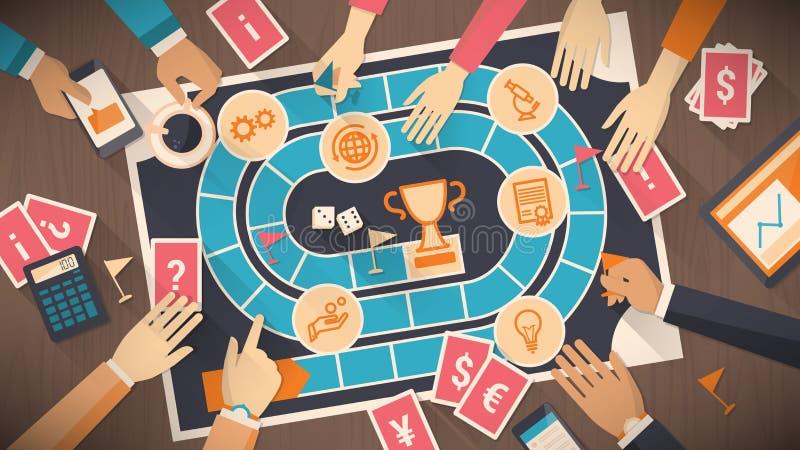 Επιτραπέζιο παιχνίδι επιχειρήσεων και ανταγωνισμού απεικόνιση αποθεμάτων