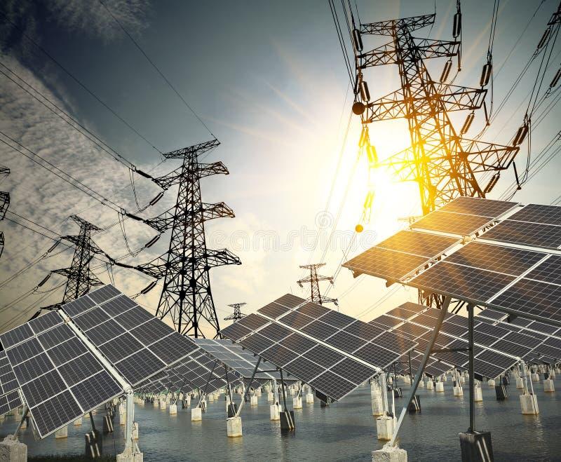 Επιτροπές ηλιακής ενέργειας και πύργος μετάδοσης ισχύος στοκ εικόνες