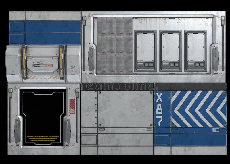 Επιτροπές φλουδών διαστημικών σκαφών του Sci Fi διανυσματική απεικόνιση