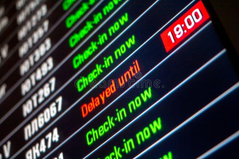 Επιτροπή πινάκων με την πτήση καθυστερημένη στοκ εικόνα