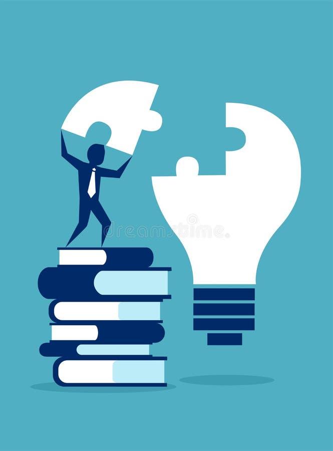 Επιτυχές επιχειρησιακό άτομο που στέκεται στο σωρό των βιβλίων που ολοκληρώνουν το γρίφο λαμπών φωτός ελεύθερη απεικόνιση δικαιώματος