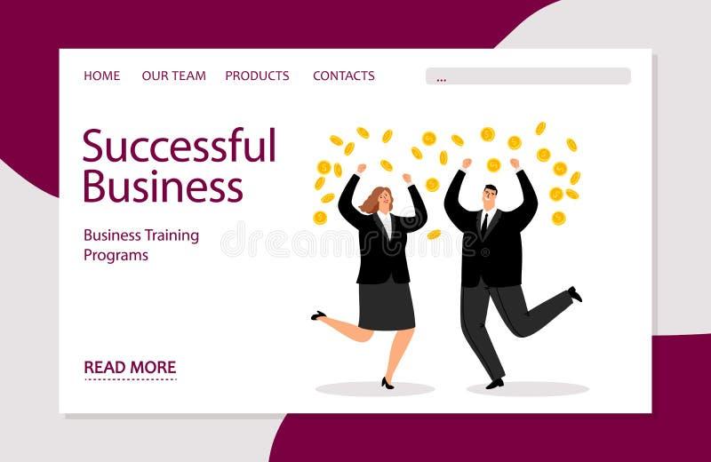 Επιτυχές επιχειρησιακό προσγειωμένος πρότυπο Διανυσματική επιχειρησιακή απεικόνιση με το businesspeople και τα χρήματα διανυσματική απεικόνιση