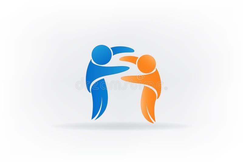 Επιτυχές λογότυπο εικονιδίων ανθρώπων φιλίας ελεύθερη απεικόνιση δικαιώματος