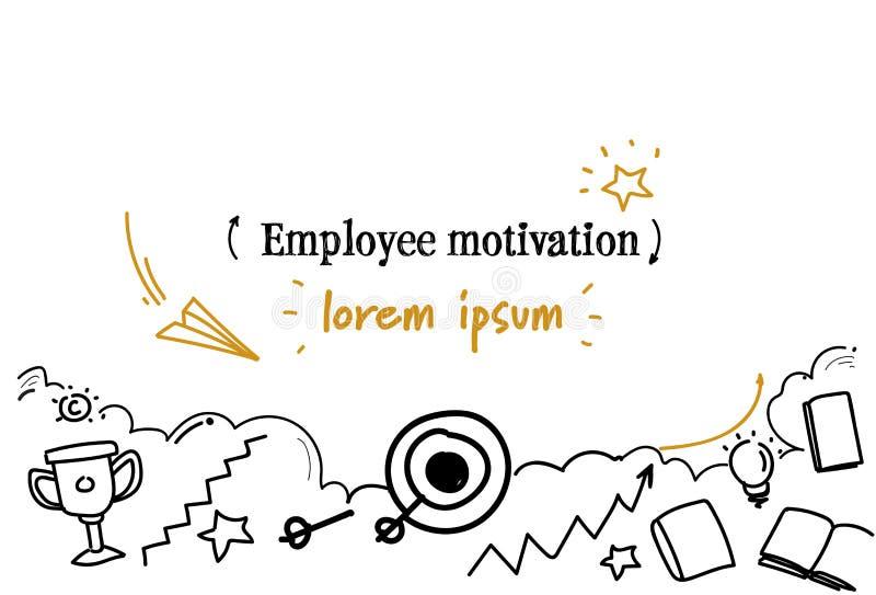 Επιτυχές σταδιοδρομίας στόχων υπαλλήλων κινήτρου έννοιας διάστημα αντιγράφων σκίτσων doodle οριζόντιο απομονωμένο διανυσματική απεικόνιση