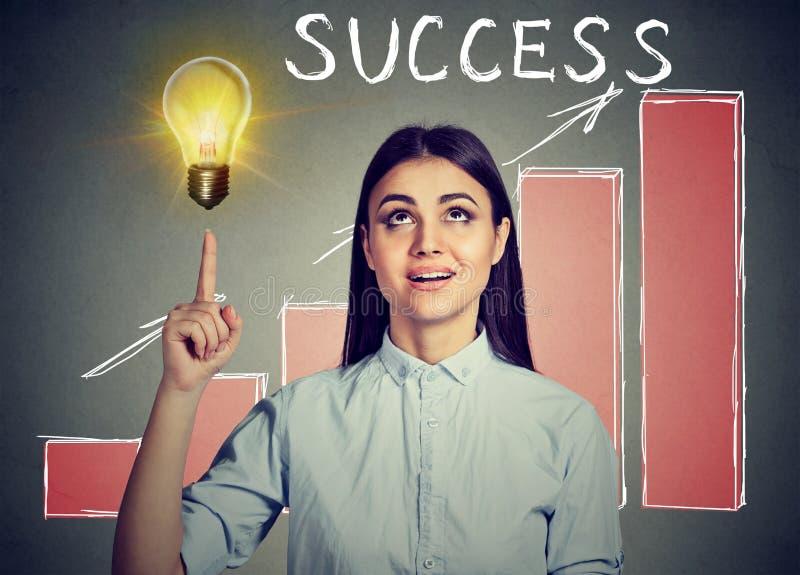 Επιτυχής γυναίκα που εξετάζει επάνω τη λάμπα φωτός ιδέας με την ανάπτυξη του διαγράμματος επιτυχίας στοκ εικόνα με δικαίωμα ελεύθερης χρήσης