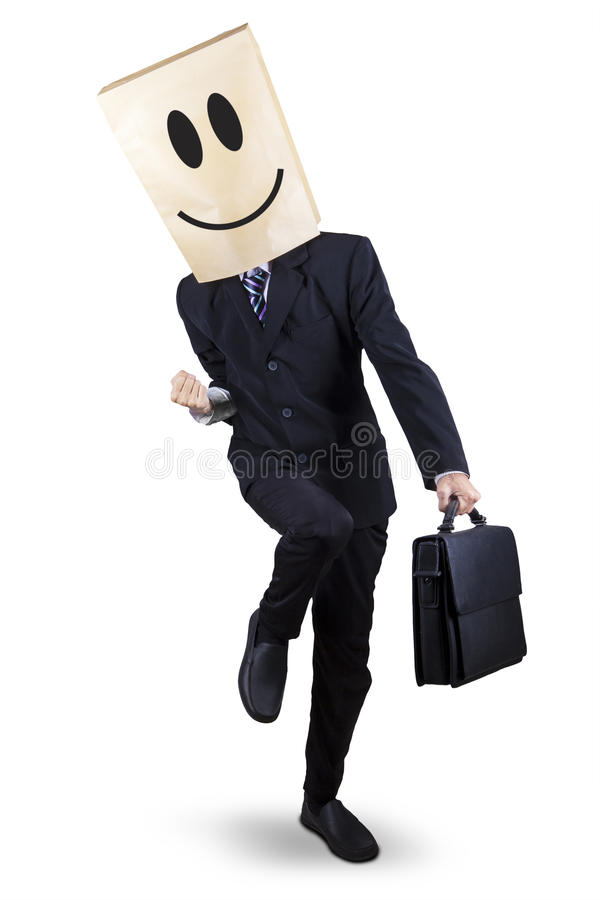 Επιτυχής επιχειρηματίας με το κεφάλι χαρτονιού στοκ φωτογραφίες με δικαίωμα ελεύθερης χρήσης