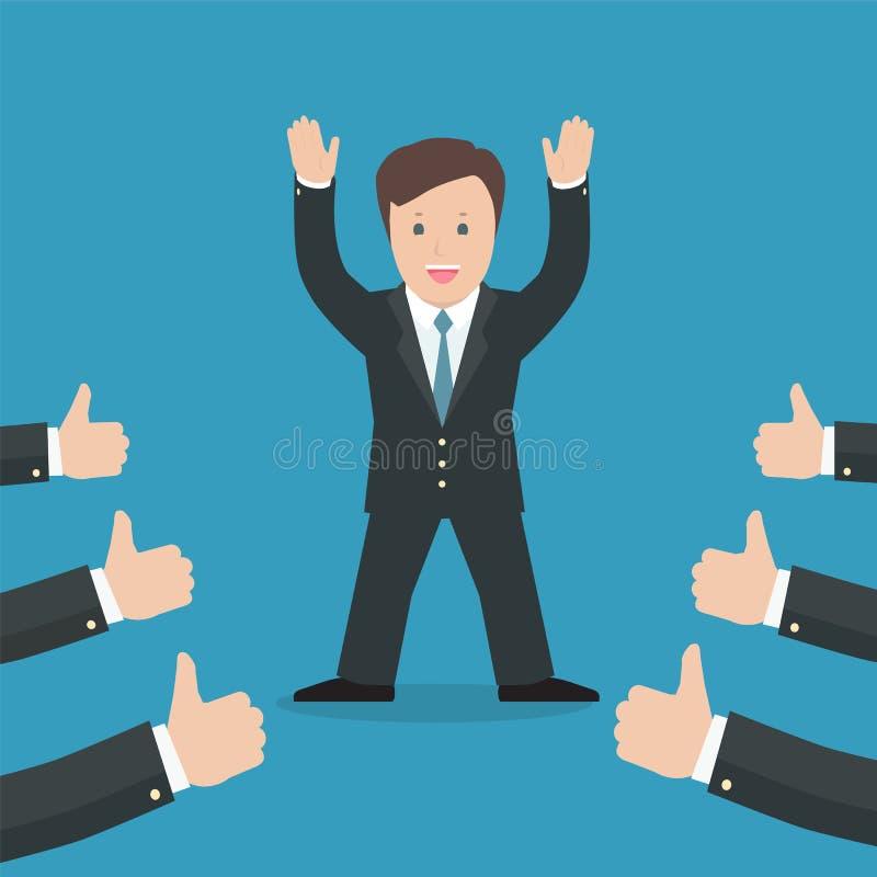 Επιτυχής επιχειρηματίας που αναγνωρίζει πολλούς αντίχειρες επάνω γύρω από τον ελεύθερη απεικόνιση δικαιώματος