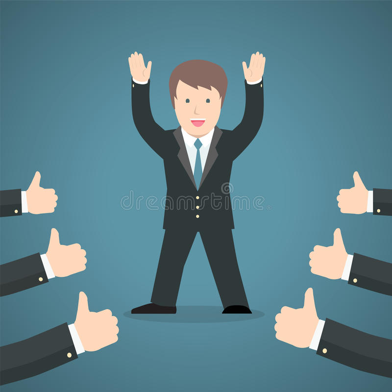 Επιτυχής επιχειρηματίας που αναγνωρίζει πολλούς αντίχειρες επάνω γύρω από τον απεικόνιση αποθεμάτων