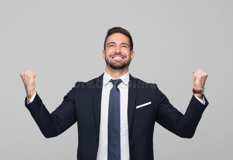 Επιτυχής καυκάσια επαγγελματική νίκη επιχειρηματιών στοκ εικόνα με δικαίωμα ελεύθερης χρήσης