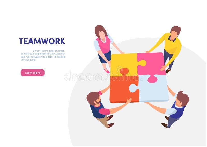 Επιτυχής μαζί έννοια ομαδικής εργασίας περιεχόμενο μάρκετινγκ Επιχειρηματίες που κρατούν το μεγάλο κομμάτι γρίφων τορνευτικών πρι διανυσματική απεικόνιση