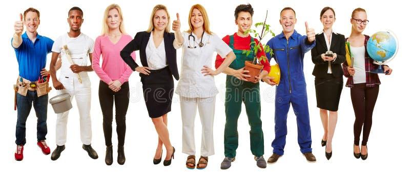 Επιτυχής ομάδα πολλών επαγγελμάτων στοκ εικόνα με δικαίωμα ελεύθερης χρήσης