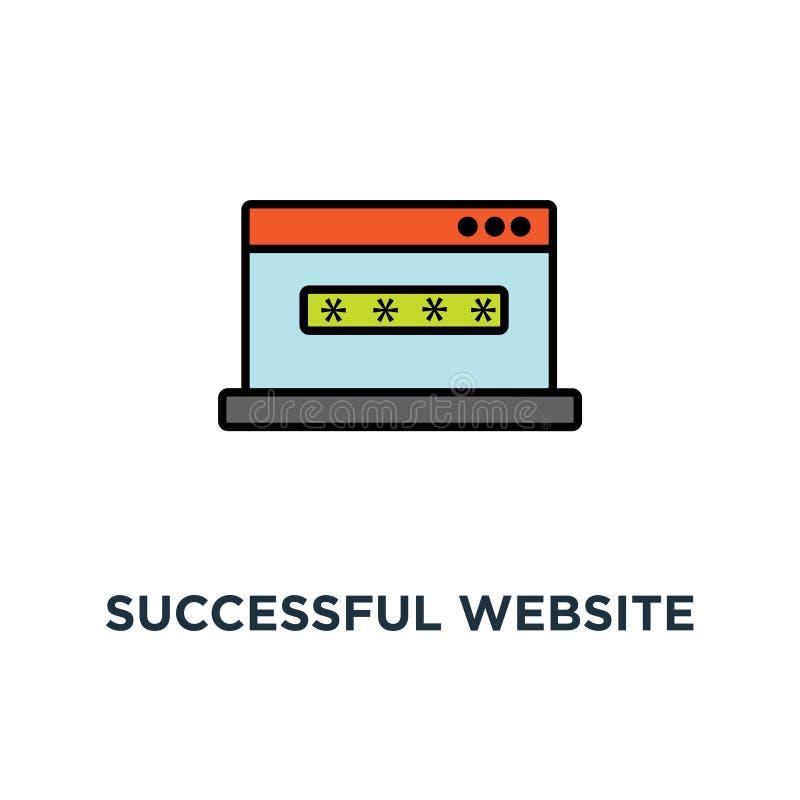 επιτυχής σελίδα σύνδεσης ιστοχώρου στην οθόνη lap-top με το εικονίδιο μορφής κωδικού πρόσβασης σχέδιο συμβόλων έννοιας ασφάλειας, απεικόνιση αποθεμάτων
