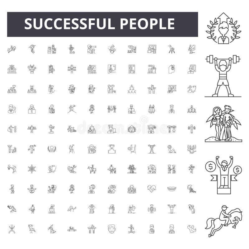 Επιτυχή εικονίδια γραμμών ανθρώπων, σημάδια, διανυσματικό σύνολο, έννοια απεικόνισης περιλήψεων απεικόνιση αποθεμάτων