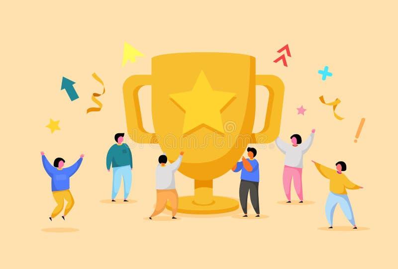 Επιτυχία επιχειρησιακής ομάδας, έννοια επιτεύγματος Επίπεδοι χαρακτήρες ανθρώπων με το βραβείο, χρυσό φλυτζάνι Εορτασμός εργαζομέ διανυσματική απεικόνιση