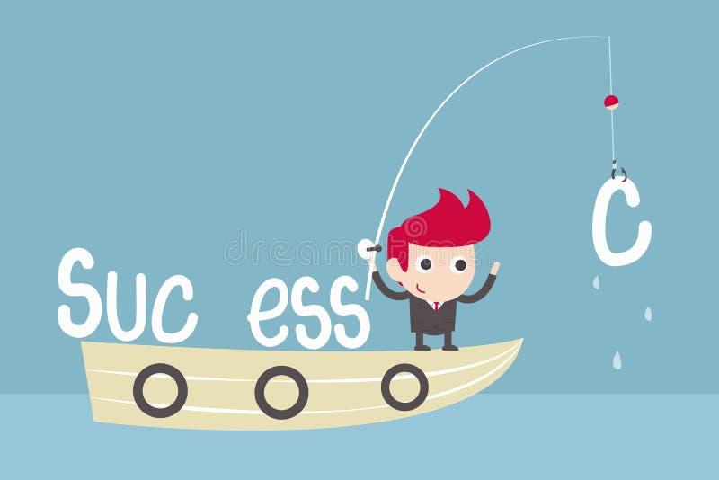 Αλιεία επιτυχίας ατόμων διανυσματική απεικόνιση