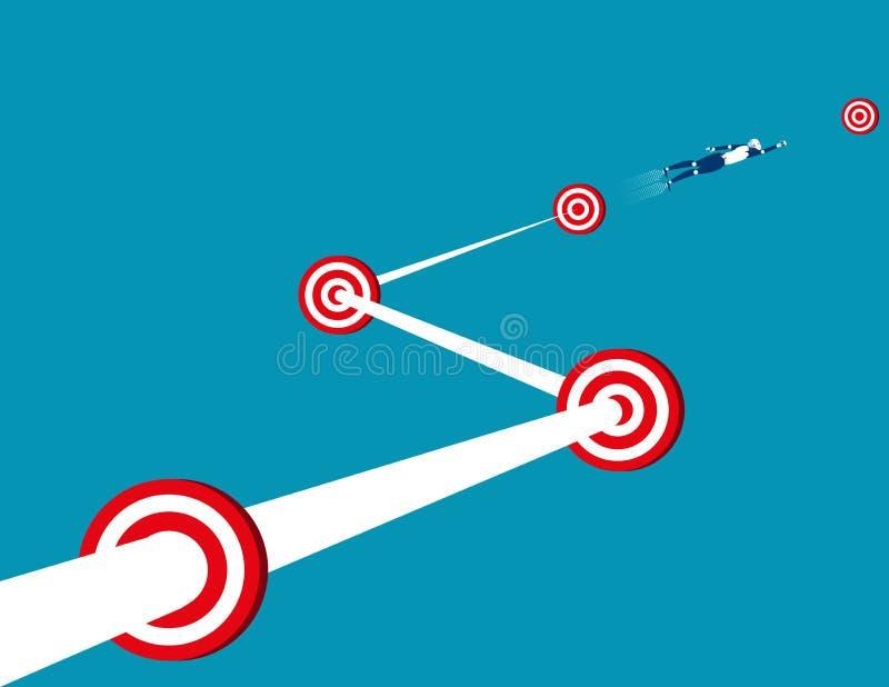 Επιτυχία και αύξηση στόχων ρομπότ ηγετών Επιχείρηση έννοιας artific διανυσματική απεικόνιση
