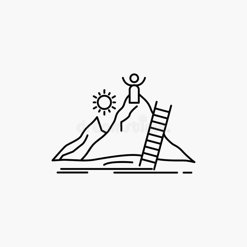 Επιτυχία, προσωπική, ανάπτυξη, ηγέτης, εικονίδιο γραμμών σταδιοδρομίας : απεικόνιση αποθεμάτων