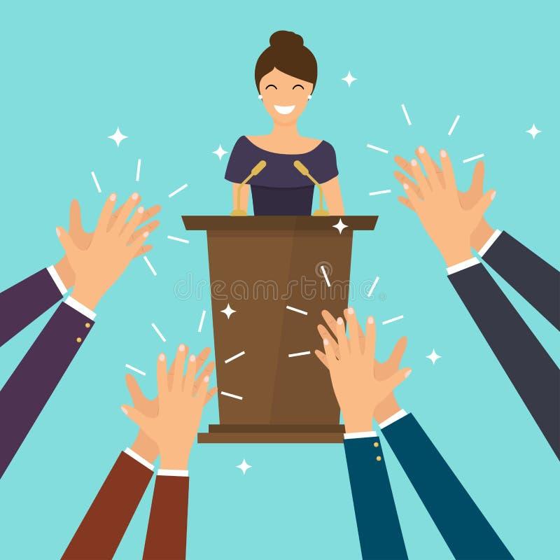 Επιτυχία στην επιχείρηση Γυναίκα που δίνει μια ομιλία στη σκηνή άνθρωπος χεριών ελεύθερη απεικόνιση δικαιώματος