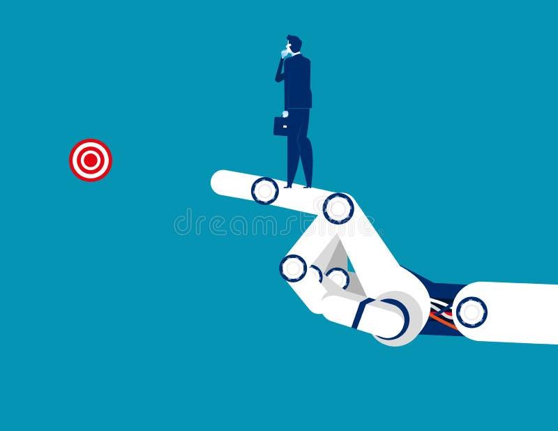 Επιτυχία τεχνολογίας Επιχειρηματίας που στέκεται στο βραχίονα μηχανικό r Επίπεδος χαρακτήρας, κινούμενα σχέδια ελεύθερη απεικόνιση δικαιώματος