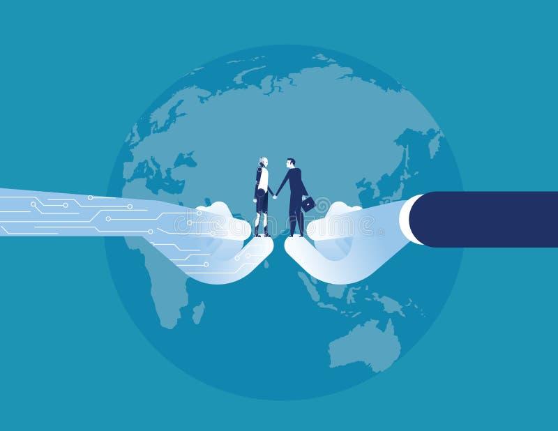 Επιτυχία τεχνολογίας Χέρι τινάγματος επιχειρηματιών και ρομπότ Επιχειρησιακή διανυσματική απεικόνιση έννοιας διανυσματική απεικόνιση