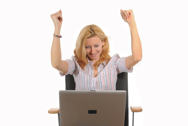 επιτυχία lap-top στοκ εικόνα με δικαίωμα ελεύθερης χρήσης