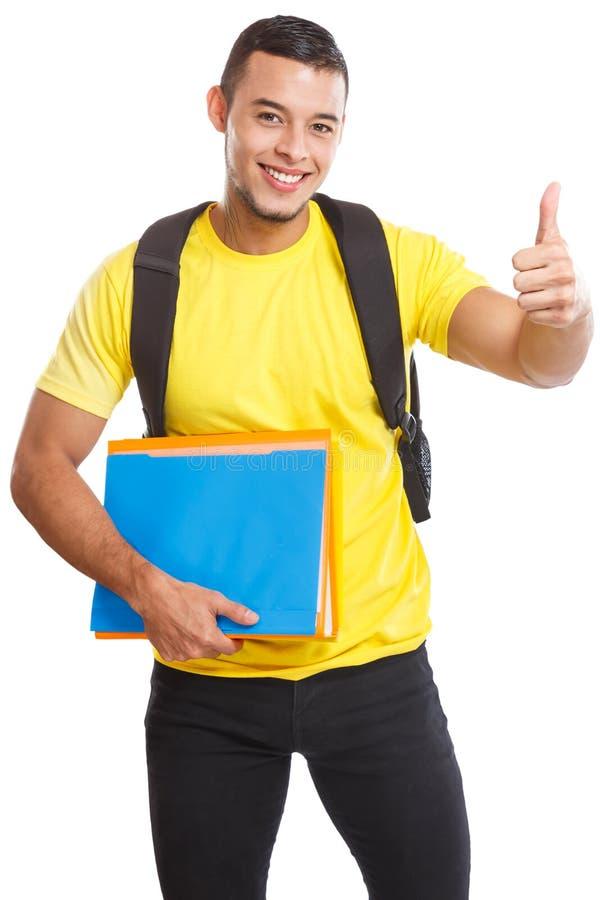 Επιτυχείς αντίχειρες επιτυχίας σπουδαστών που χαμογελούν επάνω τους ανθρώπους που απομονώνονται στο λευκό στοκ φωτογραφία