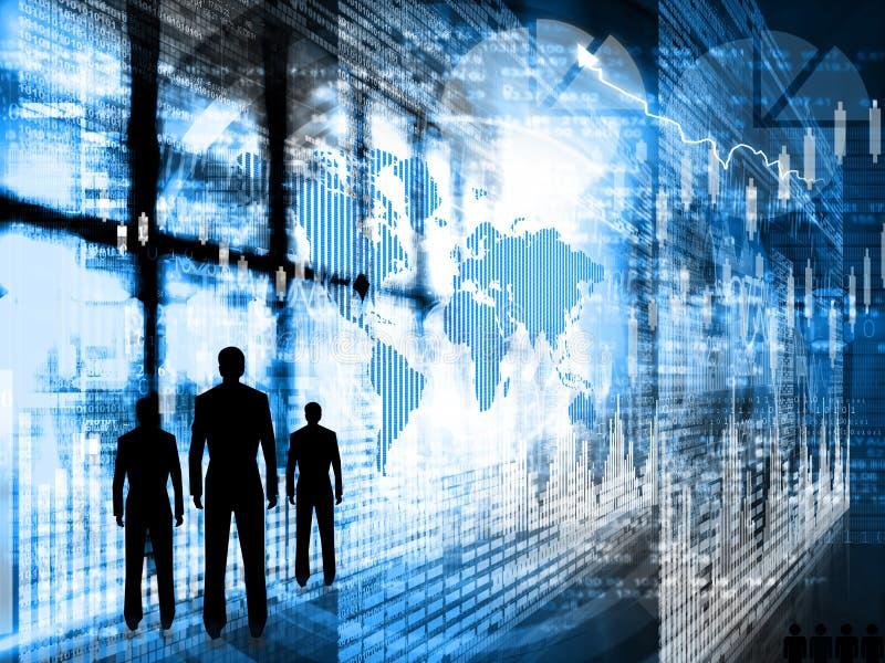 Επιτυχείς επιχειρηματίες που στέκονται στο επιχειρησιακό κέντρο διανυσματική απεικόνιση