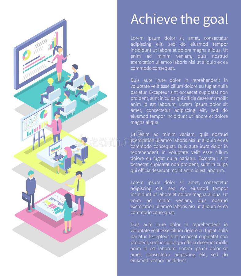 Επιτύχετε την αφίσα στόχου και τη διανυσματική απεικόνιση κειμένων ελεύθερη απεικόνιση δικαιώματος