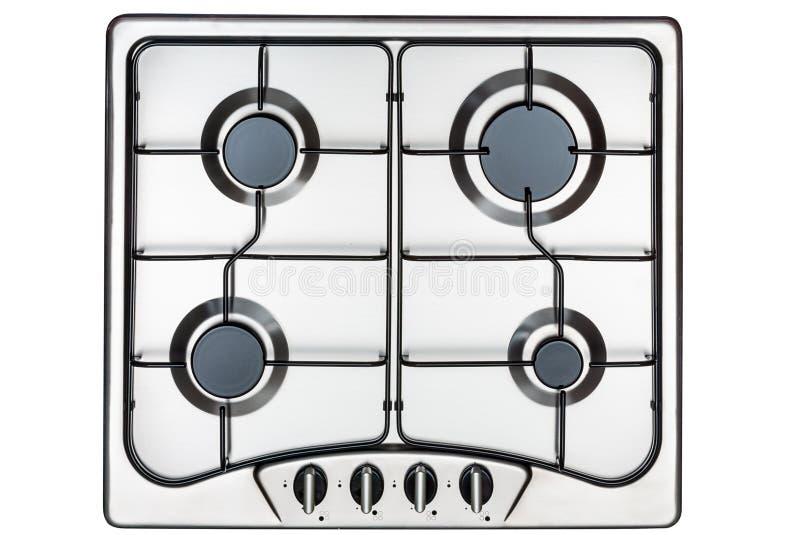 Επιφάνεια κουζινών στο ανοξείδωτο με τη σχάρα μετάλλων επάνω από την όψη στοκ εικόνα με δικαίωμα ελεύθερης χρήσης