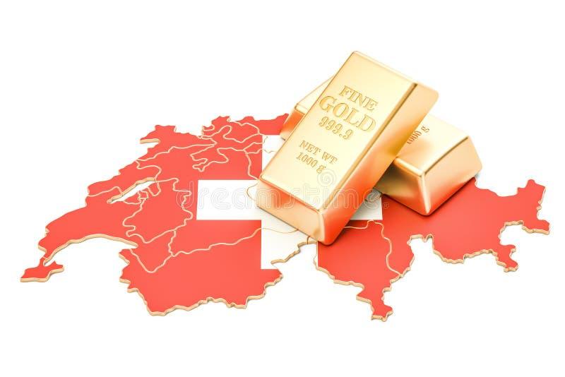 Επιφυλάξεις ξένος-ανταλλαγής της έννοιας της Ελβετίας, τρισδιάστατη απόδοση απεικόνιση αποθεμάτων