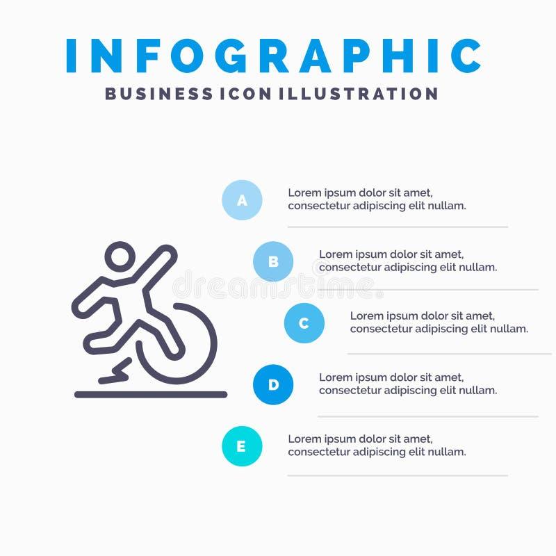 Επιχείρηση, αλλαγή, άνεση, διαφυγή, εικονίδιο γραμμών άδειας με το υπόβαθρο infographics παρουσίασης 5 βημάτων απεικόνιση αποθεμάτων