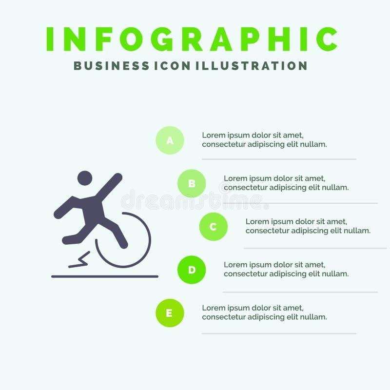 Επιχείρηση, αλλαγή, άνεση, διαφυγή, στερεό εικονίδιο Infographics 5 άδειας υπόβαθρο παρουσίασης βημάτων ελεύθερη απεικόνιση δικαιώματος