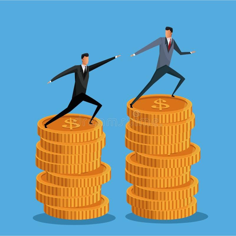 Επιχείρηση ατόμων στη συνεργασία αύξησης νομισμάτων σωρών διανυσματική απεικόνιση