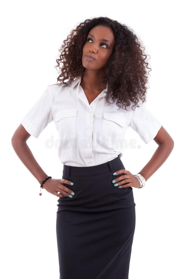 επιχείρηση αφροαμερικάνων που κοιτάζει επάνω στις νεολαίες γυναικών στοκ φωτογραφία
