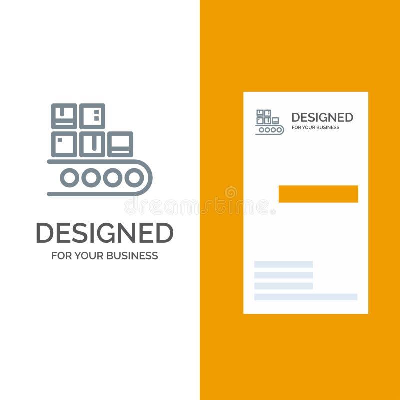 Επιχείρηση, γραμμή, διαχείριση, προϊόν, γκρίζο σχέδιο λογότυπων παραγωγής και πρότυπο επαγγελματικών καρτών διανυσματική απεικόνιση