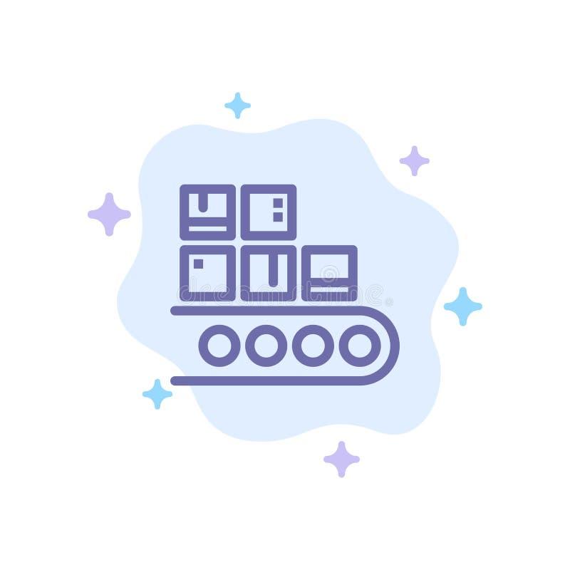 Επιχείρηση, γραμμή, διαχείριση, προϊόν, μπλε εικονίδιο παραγωγής στο αφηρημένο υπόβαθρο σύννεφων διανυσματική απεικόνιση