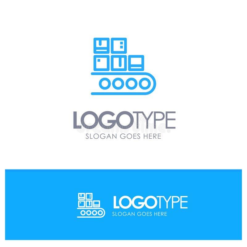 Επιχείρηση, γραμμή, διαχείριση, προϊόν, μπλε λογότυπο περιλήψεων παραγωγής με τη θέση για το tagline διανυσματική απεικόνιση